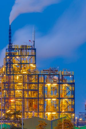 Heavy chemical industry at sunset in an industrial factory area